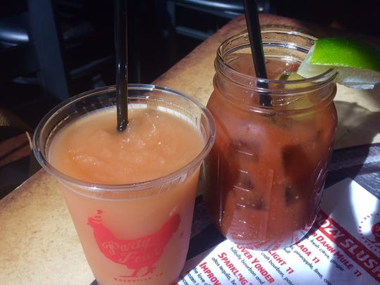 A Port Light slushie, left, and a Bloody Mary from the brunch menu at Party Fowl.
