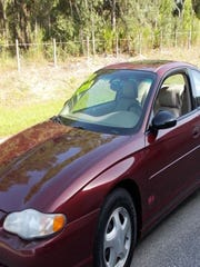 Police are looking for this  2001 Maroon Chevrolet Monte Carlo that Sanchez and Gomez were seen driving Monday night.