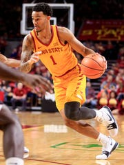 Iowa State Cyclones guard Nick Weiler-Babb (1) drives to the basket during a game against Maryland Eastern Shores Wednesday, Dec. 20, 2017 in Ames.