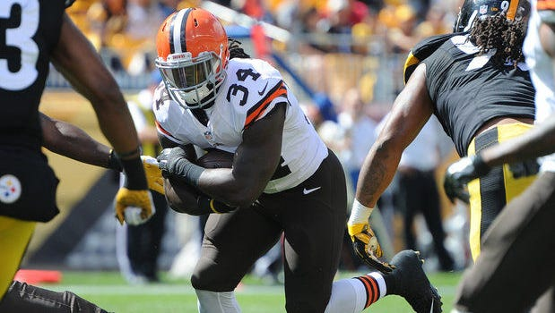 Isaiah Crowell has now scored three rushing touchdowns in two games against the Pittsburgh Steelers.