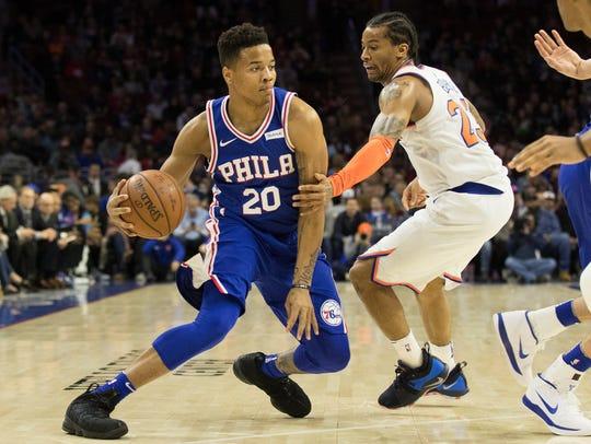 Philadelphia 76ers guard Markelle Fultz (20) dribbles