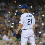 Dodgers starting pitcher Zack Greinke in the sixth  inning.
