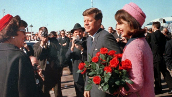 President John F. Kennedy and first lady Jacqueline Kennedy at Love Field in Dallas.