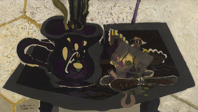 """""""Nature morte au couteau,"""" a 1943 oil on canvas still life by Georges Braque, will be shown at Waterhouse & Dodd during the Palm Beach Modern + Contemporary art fair. The fair will open with a VIP preview on Thursday and run through Sunday in downtown West Palm Beach."""