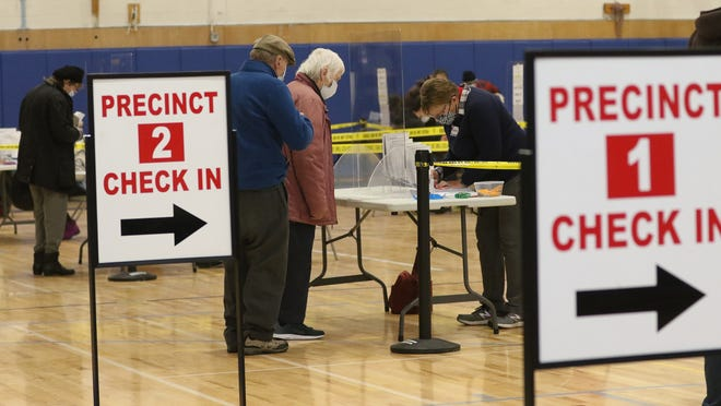 The precincts at R.J. Grey were filled with voters and workers on Election Day in Acton, Nov. 3, 2020.