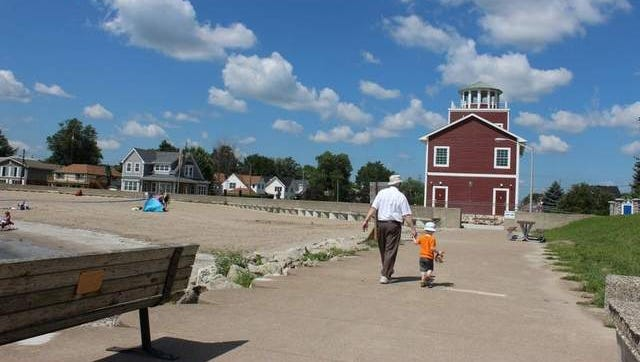 Luna Pier in Michigan has a walkable pier and a beach along Lake Erie.