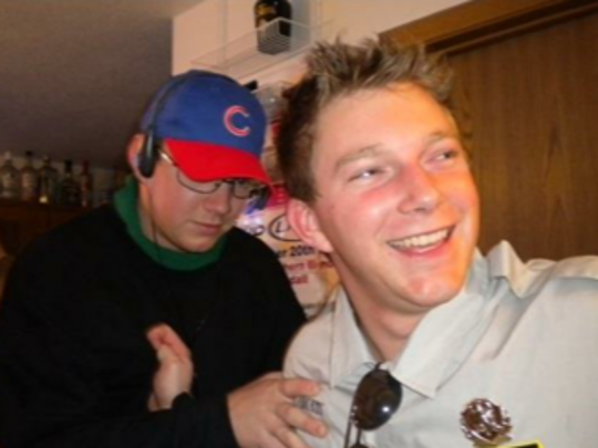 John Fanta and a friend from college on Halloween 2009. Fanta dressed up as Steve Bartman, the Chicago Cubs fan who became the butt of many jokes after intercepting a potential foul ball catch in game six of the 2003 National League Championship Series.