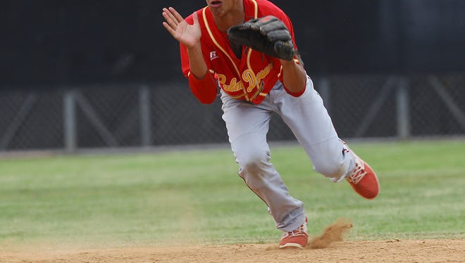 Jordan Sprinkle makes a play at shortstop against Capistrano Valley during their CIF Division 2 semifinal game. Palm Desert won 4-3 and will head to the CIF Championship game at Dodger Stadium June 2, 2017.