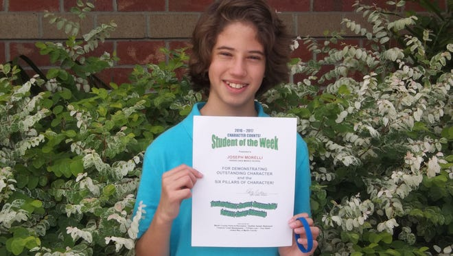 Joseph Morelli, a seventh-grader at Hidden Oaks Middle School in Palm City, is the Character Counts! Student of the Week