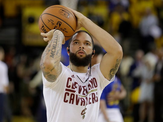 Cleveland Cavaliers guard Deron Williams warms up before Game 2 of basketball's NBA Finals against the Golden State Warriors in Oakland, Calif., Sunday, June 4, 2017. (AP Photo/Marcio Jose Sanchez) ORG XMIT: OAS1