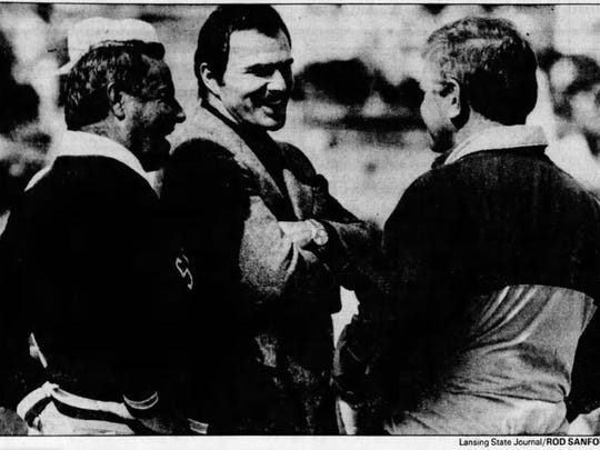 Burt Reynolds returned to his hometown of Lansing in September 1987. He was in town as a radio commentator for the Florida State-Michigan State football game at Spartan Stadium.