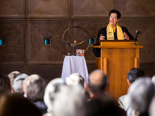 Reverend Roberta Finkelstein leads services at the First Unitarian Church of Wilmington on Sunday morning.