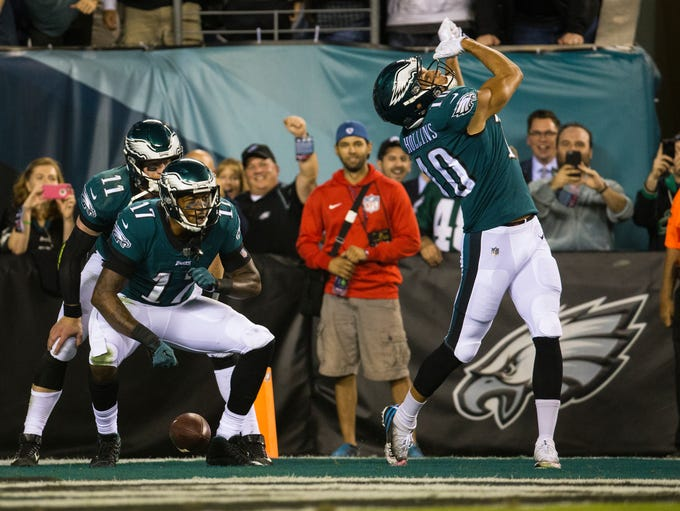 Philadelphia's Mack Hollins, right, celebrates with