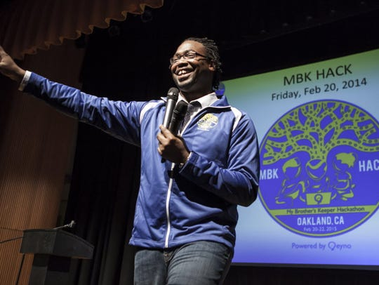 Kalimah Priforce opens the hackathon on Feb. 20, 2015.