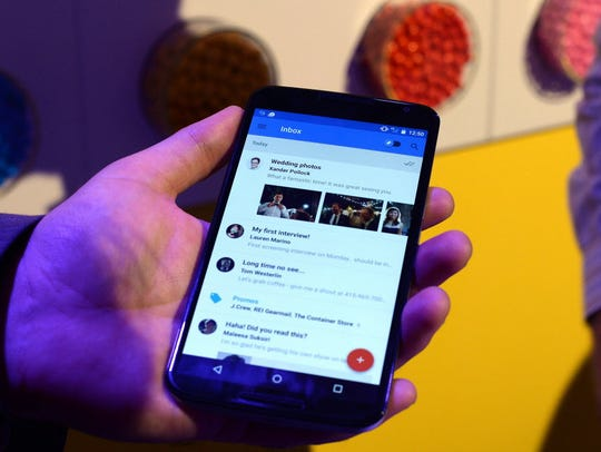 A Nexus 6 android phone is shown during a media preview
