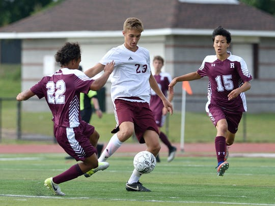 Sebastian Rojek of Wayne Hills (23) had an assist against