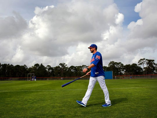 Mickey Callaway moves about the Mets complex Tuesday