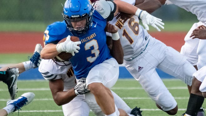 Hutchinson's Alec McCuan (3) ran for 292 yards and three touchdowns to help the Salthawks to a 34-33 upset of Class 5A No. 5 Maize South on Friday. Hutchinson is off to a 3-0 start after going just 2-7 each of the last two seasons.