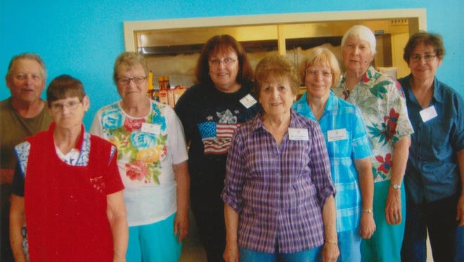In early July, nine members of the Royal Neighbors of America Camp No. 561 served lunch at the Salvation Army, and cleaned up the kitchen and dining room afterwards. Pictured are Don Olson, Judy Beilke, Irma Parmer, Linda Sagstetter, Elaine Spalding, Rosella Woods, Rosemary Owen and Sharon Jacobson. Not pictured was Dorothy Miller.