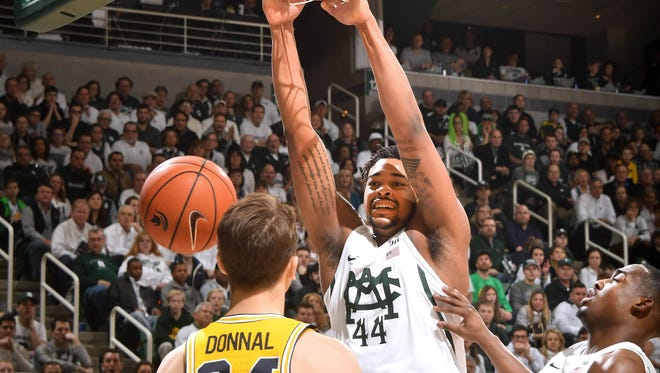 Michigan State freshman Nick Ward (44) scored 13 points in 16 minutes in Sunday's win over Michigan.