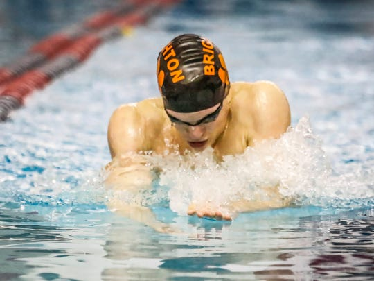 Brighton's Drew Panzl won the 100-yard breaststroke in 1:00.86 in a dual meet against Howell.