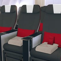This image provided by Iberia shows the carrier's new premium economy seats that enter service in mid-2017.