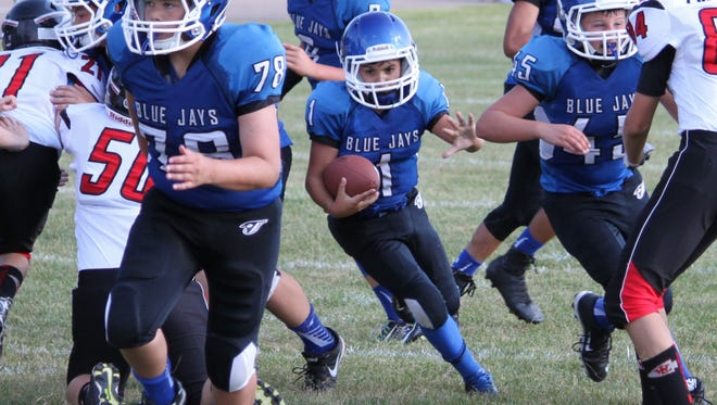 Livonia Blue Jays running back Rocco DiPonio bursts through a hole during a game earlier this season.