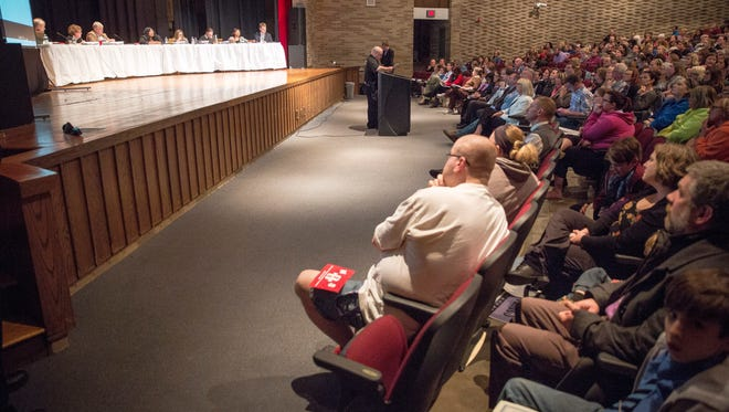 A large crowd attends the Muncie Community School Board meeting on Feb. 28 at Southside Middle School.