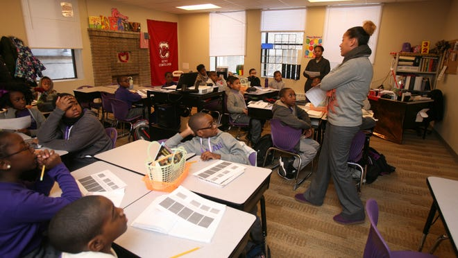 Teri Knowings' fifth-grade ELA class at the Amani Public Charter School in Mount Vernon earlier this month.
