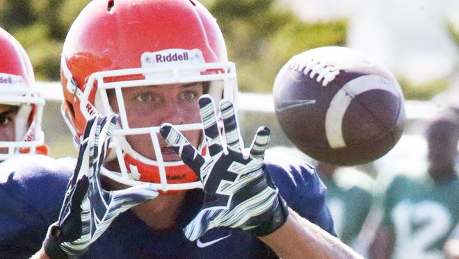 UTEP senior wide receiver Cole Freytag performs short catching drills during Tuesday'a practice at Glory Field.