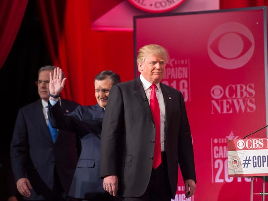 Donald Trump, Ted Cruz and Jeb Bush arrive for the