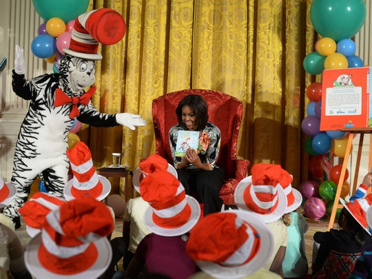 Former first lady Michelle Obama reads Dr. Seuss's