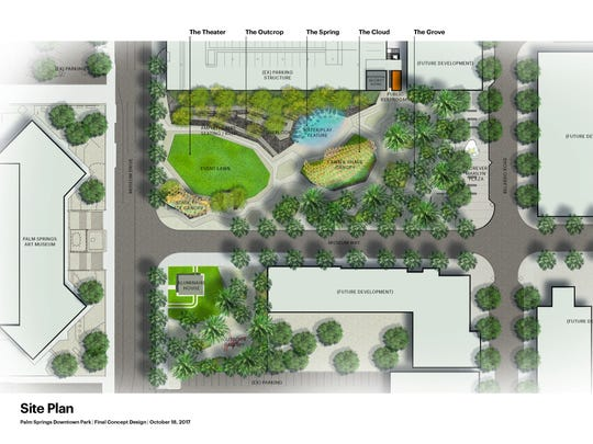 Concept design of the Palm Springs Downtown Park, which includes the Aluminaire House.