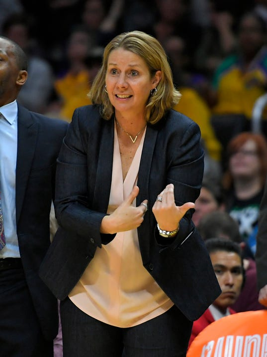 File- This Sept. 29, 2017, file photo shows Minnesota Lynx head coach Cheryl Reeve gesturing during the second half in Game 3 of the WNBA basketball finals against the Los Angeles Sparks, in Los Angeles. The Lynx have signed  Reeve to a multiyear contract extension and made her general manager of the four-time WNBA champions. Reeve's record in eight seasons with the Lynx is 195-77, winning titles in 2011, 2013, 2015 and 2017. During the 11 years before Reeve's arrival, the Lynx made the playoffs only twice. (AP Photo/Mark J. Terrill, File)