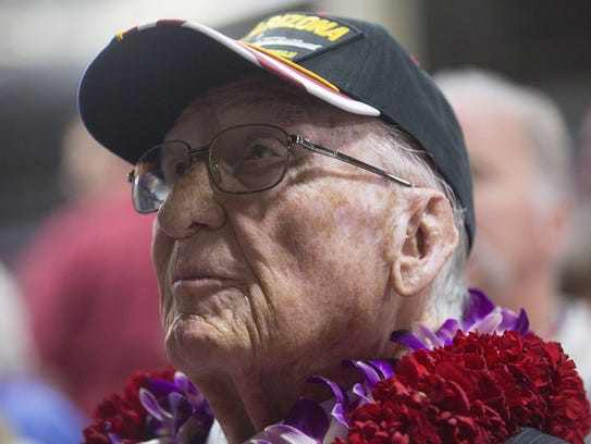 USS Arizona survivor Donald Stratton waits for the