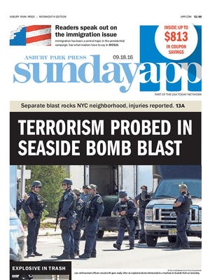 Asbury Park Press Front Page, Sunday, September 18, 2016