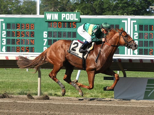 Unbeaten Timeline romped home Sunday in the Grade III Pegasus Stakes at Monmouth Park