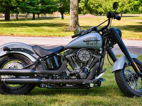 A Harley-Davidson motorcycle customized to honor a