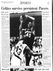 The Indianapolis Star's sports page the day after the Pacers fell to the Celtics in Game 5.