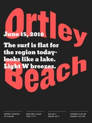 A poster that Toffolo designed for the June 15th surf report in Ortley Beach.