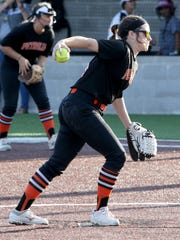Petrolia's Lindy Alexander pitches against Haskell Thursday, April 26, 2018, in Graford.