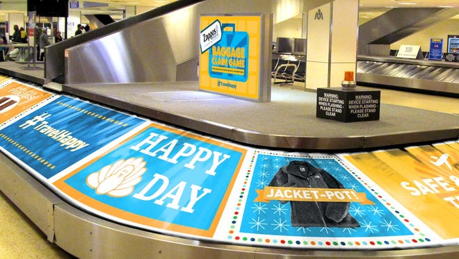 An image of what Zappos expected Houston's AA baggage carousel to look like on the Wednesday before Thanksgiving.
