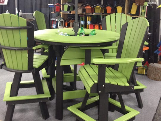 Patio sets are bright and cheery.
