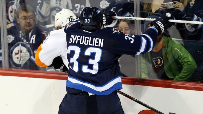 Last time the Flyers visited Winnipeg, Dustin Byfuglien took a run or two at Claude Giroux.