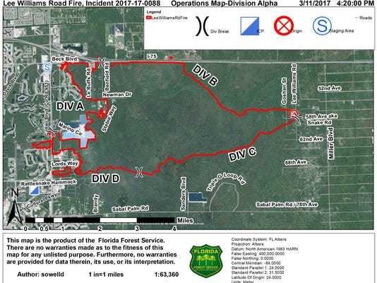 Collier County Wildfire Map.Brush Fire East Of Naples Smaller 70 Percent Contained State