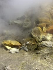 A fumarole steams at the Solfatara crater bed, in the Phlegraean Fields near Naples.