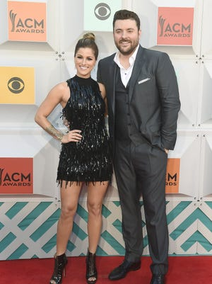 Cassadee Pope and Chris Young on the red carpet at the 51st Academy of Country Music Awards