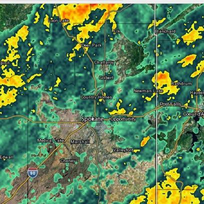 Rain falls across Spokane