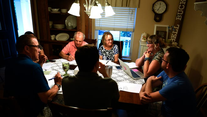 The Keep Southeast Nashville Healthy group meets at the home of Heather Hixson on July 18, 2017, in Nashville. The group is working to prevent a gas compression station being built by the Columbia Pipeline Group in the Cane Ridge area.