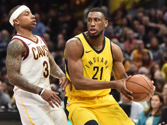Jan 26, 2018; Cleveland, OH, USA; Indiana Pacers forward